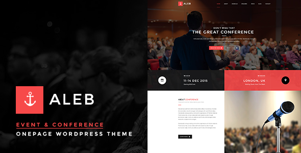 Aleb – Event Conference Onepage WordPress Theme
