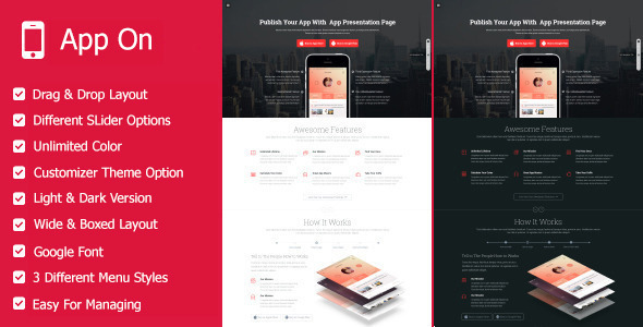 App on – Responsive App Landing WordPress Theme